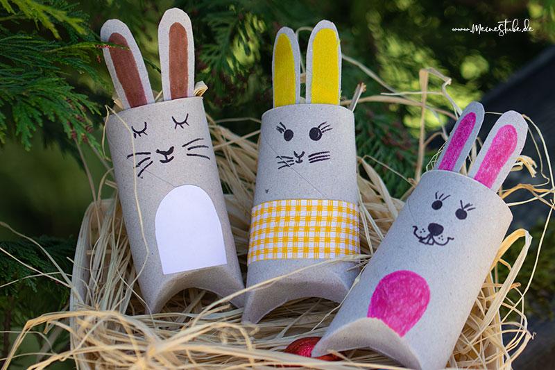 Gebastelte Osterhasen als Geschenkschachteln von meinestube