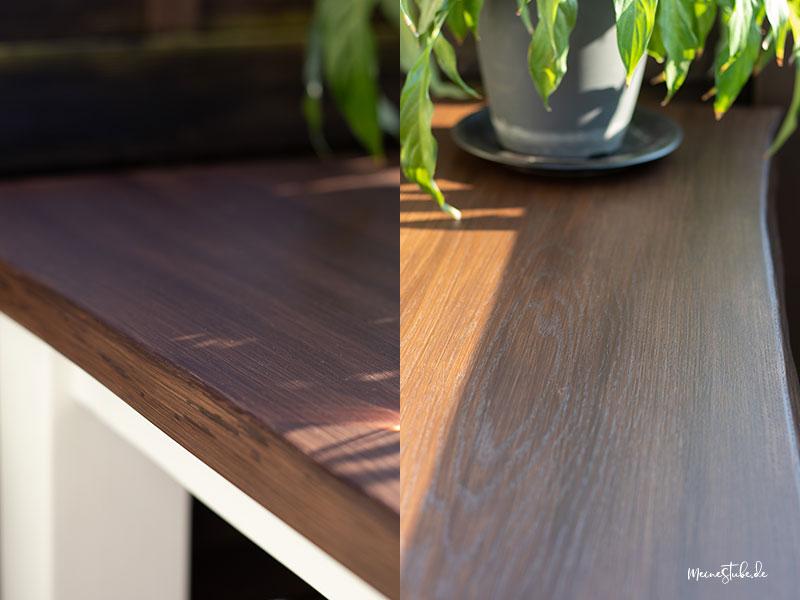 Tischplatte verschiedene Ansichten im Lichteinfall von meinestube