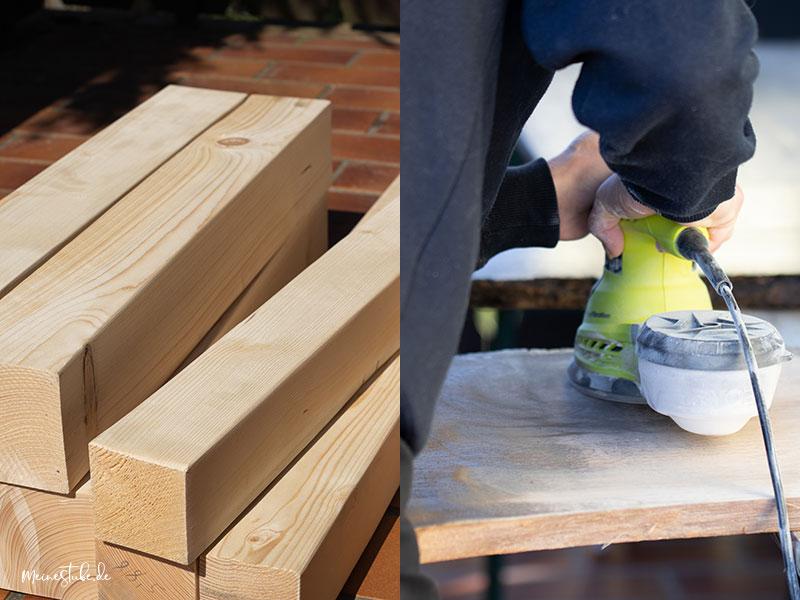 Gartentisch Holz abschleifen mit meinestube