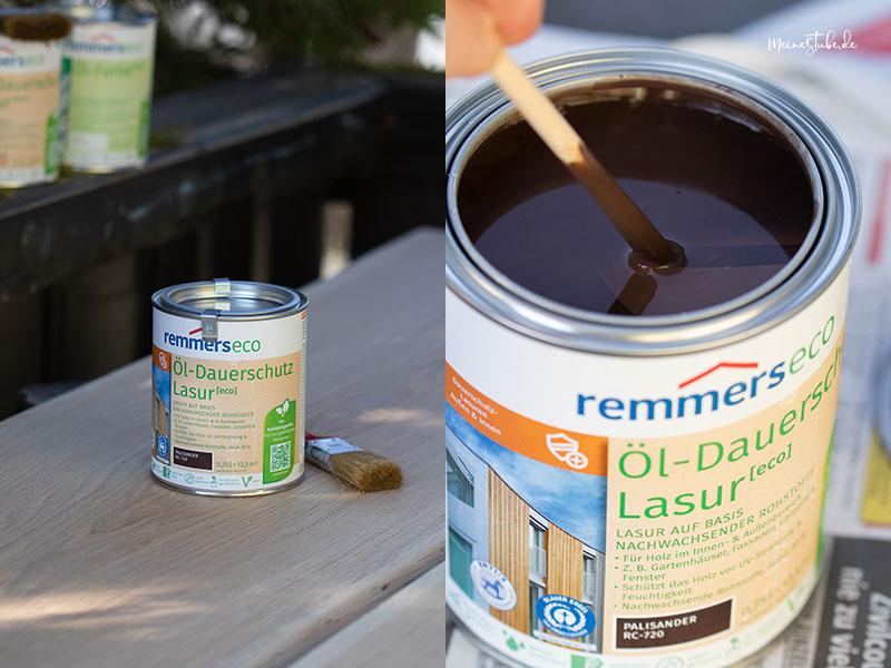 Farbe für den Gartentisch anrühren mit meinestube