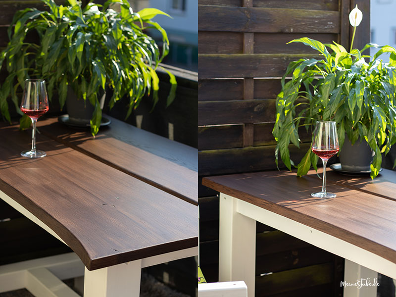 Gartentisch mit weißem Tischgestell selbst gebaut von meinestube