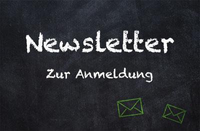 Schwarze Tafel mit Newsletter zum Anmelden bei meinestube