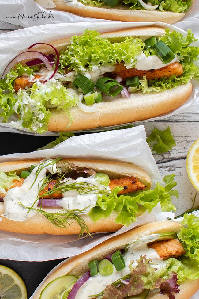 Lachsfilet im Brot mit Salat, Frühlingszwiebeln oder leckerer Soße von meinestube