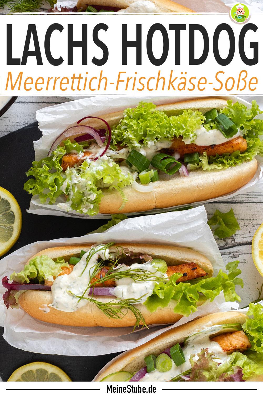 Rezept für Lachs Hotdog mit Meerrettich-Frischkäse-Sosse von meinestube