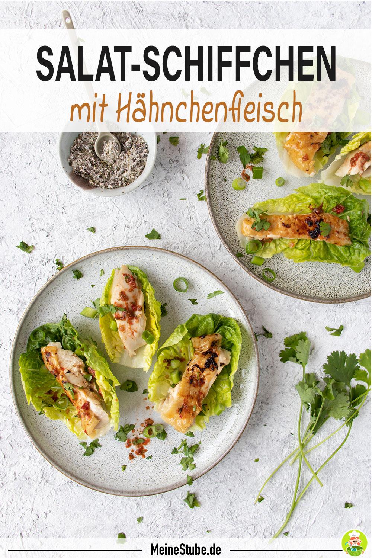 Hähnchen-Salatschiffchen mit scharfen Kräutern, meinestube