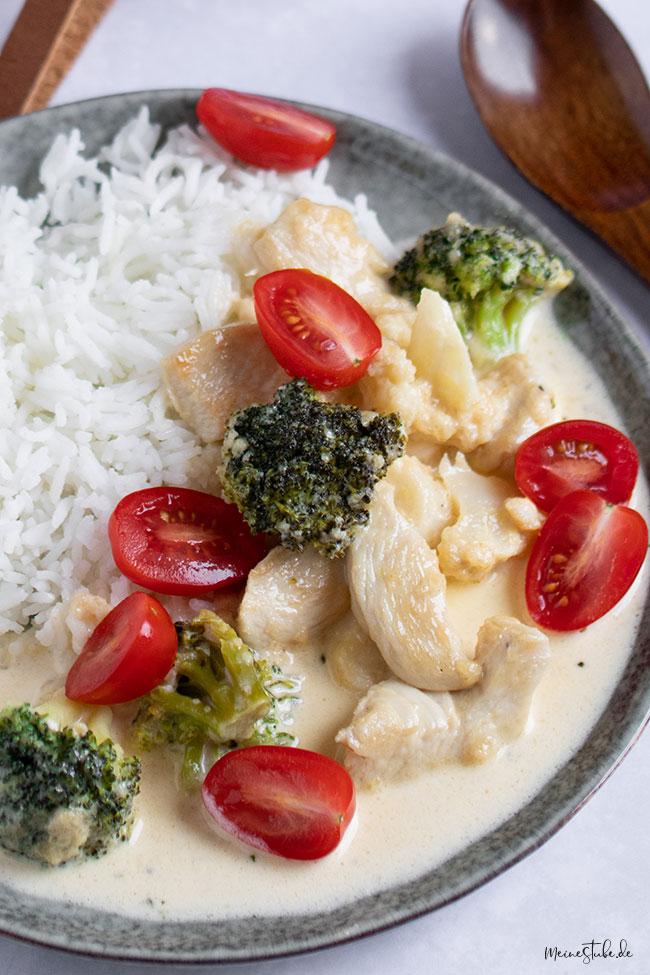 Hähnchenpfanne mit Gemüse und Reis von meinestube