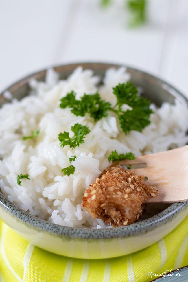 Reis Beilage zu Fischstäbchen mit meinestube