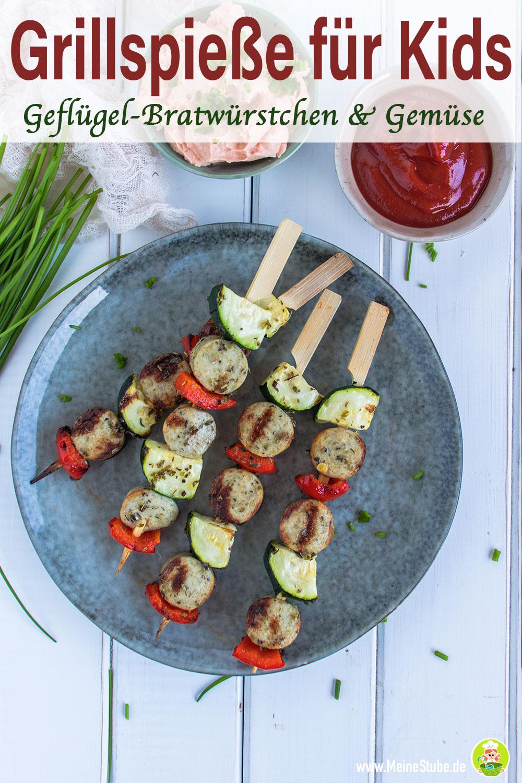 Grillspieße mit Gemüse und Geflügel-Bratwürstchen mit meinestube