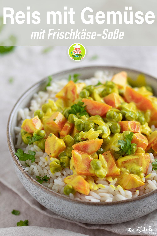 Reis mit Gemüse, Reisgericht mit Frischkäse und curry von meinestube