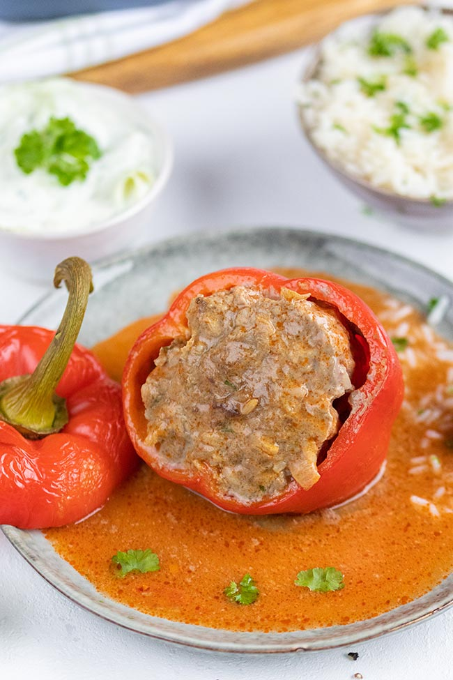 Gefüllte Paprika mit Rinderhackfleisch, meinestube