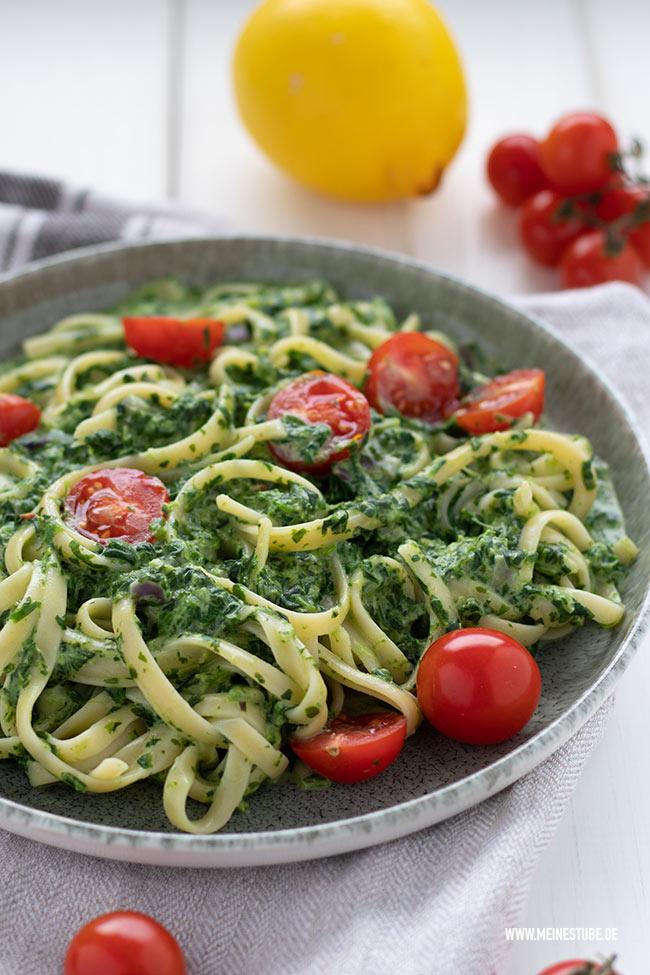 Mittagessen Vorschlag Pasta mit Spinat