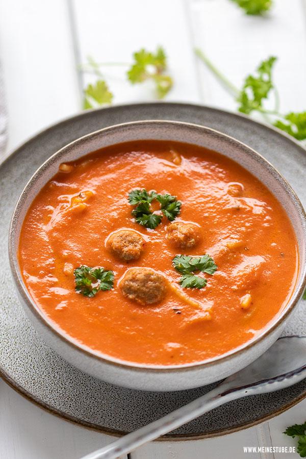 Tomatensuppe Rezept mit Fleischbällchen, meinestube