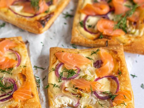 Blätterteig Snack mit Lachs, meinestube